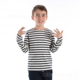 Marinière enfant ILUR coton doux - écru rayé marine