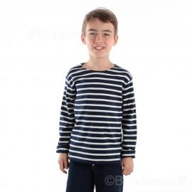 Marinière enfant ILUR coton doux - marine rayé écru