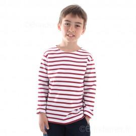Marinière enfant ILUR coton doux - blanc rayé rouge