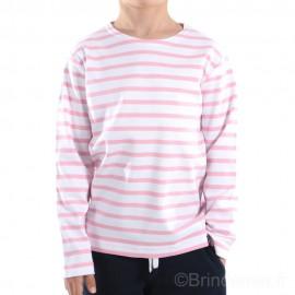 Marinière enfant ILUR coton doux - blanc rayé rose