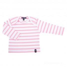 Marinière bébé ILUR coton doux - blanc rayé rose