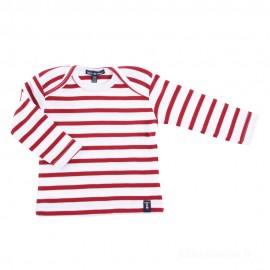 Marinière bébé ILUR coton doux - blanc rayé rouge