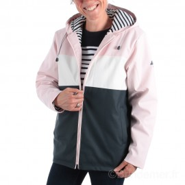 Parka mixte adulte à capuche PITCH - Rose pétale/blanc/marine