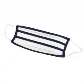 Masque barrière 2 plis rayé - écru rayé marine