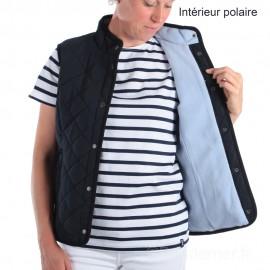 Veste matelassée sans manches doublée polaire femme - intérieur