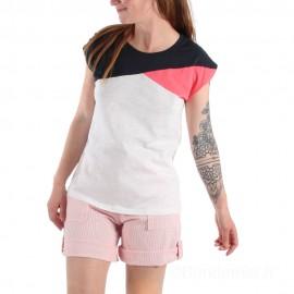 Tee-shirt tricolore pour femme TROPIC - blanc/marine/rose et short SUNDY
