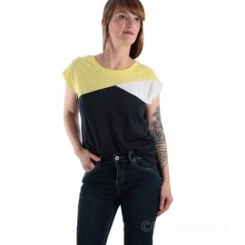 Tee-shirt tricolore pour femme TROPIC - marine/jaune/blanc