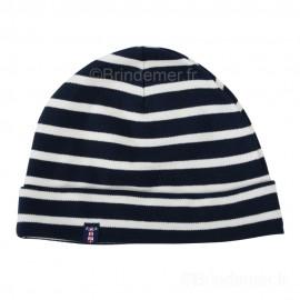 Bonnet marin coton interlock pour enfant - marine rayé écru