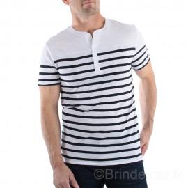 Tee-shirt col tunisien pour homme NOAH - blanc rayé marine