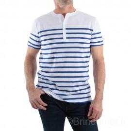 Tee-shirt col tunisien pour homme NOAH - blanc rayé bleu