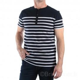 Tee-shirt col tunisien pour homme NOAH - marine rayé blanc