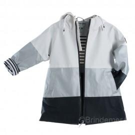 Ciré long tricolore pour fille NAUSICA - blanc argenté marine
