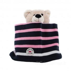 Tour de cou coton pour enfant SNOOD - Navy/pink