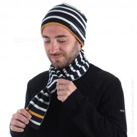 Echarpe rayée en maille coton BALNEAIRE (ici associée au bonnet MAVRIC, vendu séparément)