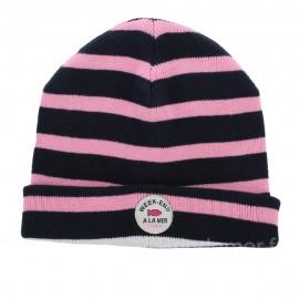 Bonnet marin pour enfant SURLACOTE - Navy/pink