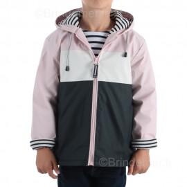 Ciré marin enfant mixte doublé molleton tricolore PITCH - coloris Rose/blanc/marine