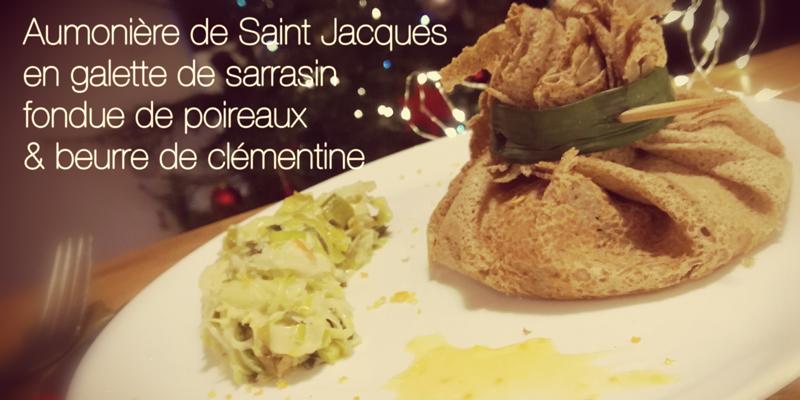 Aumônière de Saint Jacques en galette de sarrasin fondue de poireaux & beurre de clémentine