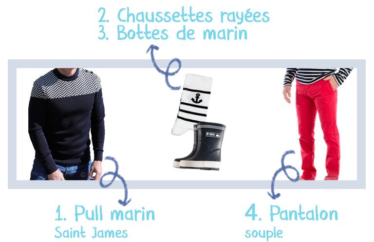 Pull de marin-chaussettes blanches- bottes de marin-pantalon souple