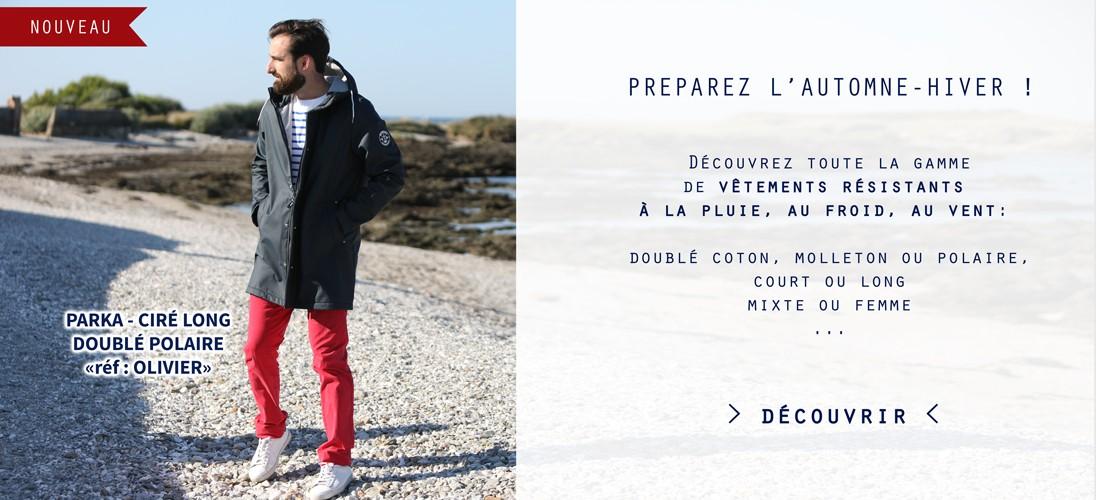 Découvrir la gamme de vêtements de pluie, cirés et parkas pour adultes