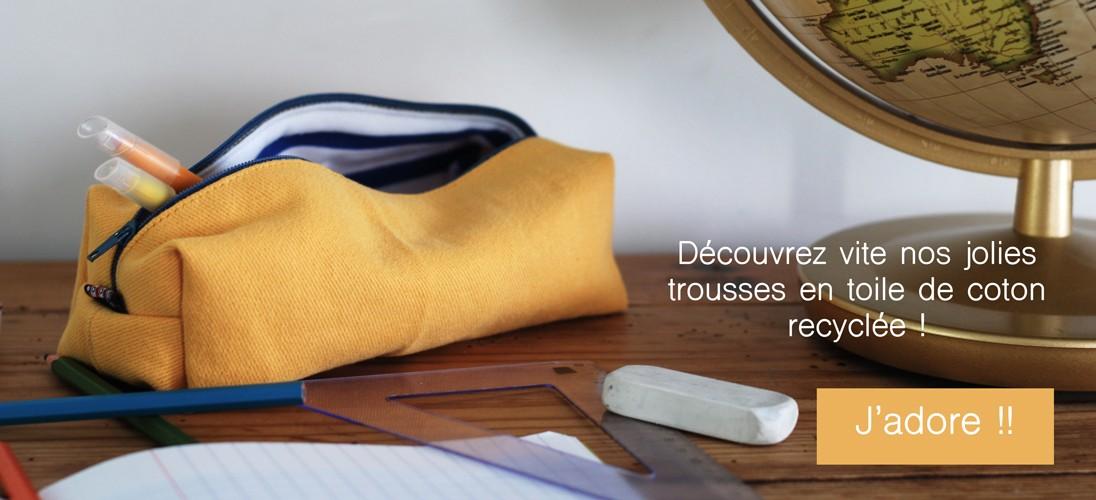 Trousse Eco-conçue en toile de coton recyclée