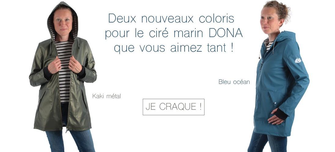 Nouveaux coloris pour le ciré marin DONA
